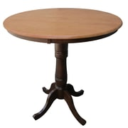 "International Concepts 36"" x 36"" Solid Wood Round Top Pedestal Table, Cinnamon/Espresso"