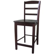 International Concepts 24 Solid Wood Madrid Counterheight Stool, Rich Mocha