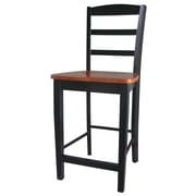 International Concepts 24 Solid Wood Madrid Counterheight Stool, Black/Cherry
