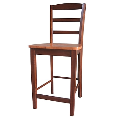 International Concepts 24in. Solid Wood Madrid Counterheight Stool, Cinnamon/Espresso
