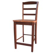 International Concepts 24 Solid Wood Madrid Counterheight Stool, Cinnamon/Espresso