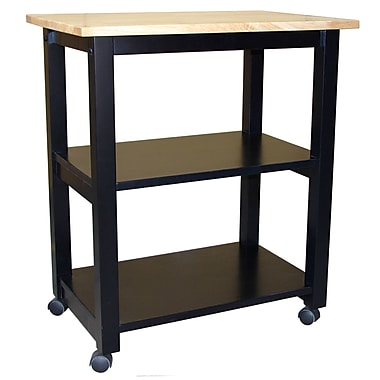 International Concepts Wood Microwave Cart, Black/Natural