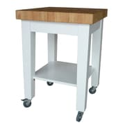 International Concepts Solid Wood Kitchen Island, White/Natural