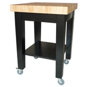 International Concepts Solid Wood Kitchen Island, Black/Natural