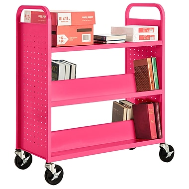 Sandusky® 46in.H x 39in.W x 19in.D Steel Flat Top and Sloped Book Truck, 5 Shelf, Pink