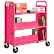 "Sandusky® 46""H x 39""W x 19""D Steel Flat Top and Sloped Book Truck, 5 Shelf, Pink"
