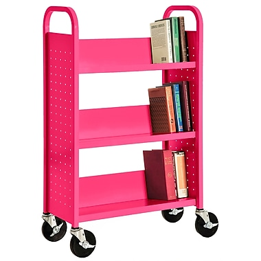Sandusky® 46in.H x 28in.W x 14in.D Steel Single Sided Sloped Book Truck, 3 Shelf, Pink