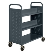 "Sandusky® 46""H x 39""W x 19""D Steel Flat Bottom and Sloped Book Truck, 5 Shelf, Charcoal"