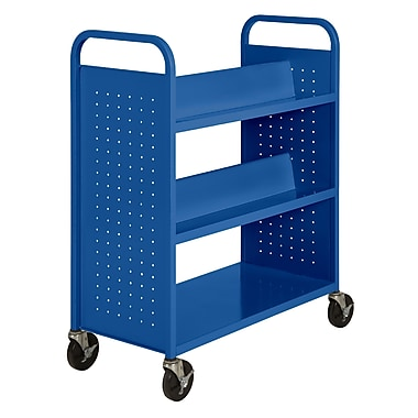 Sandusky® 46in.H x 39in.W x 19in.D Steel Flat Bottom and Sloped Book Truck, 5 Shelf, Blue