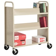 "Sandusky® 46""H x 39""W x 19""D Steel Flat Bottom and Sloped Book Truck, 5 Shelf, Putty"