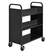 "Sandusky® 46""H x 39""W x 19""D Steel Flat Bottom and Sloped Book Truck, 5 Shelf, Black"