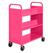 "Sandusky® 46""H x 39""W x 19""D Steel Flat Bottom and Sloped Book Truck, 5 Shelf, Pink"