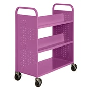 "Sandusky® 46""H x 39""W x 19""D Steel Flat Bottom and Sloped Book Truck, 5 Shelf, Purple"