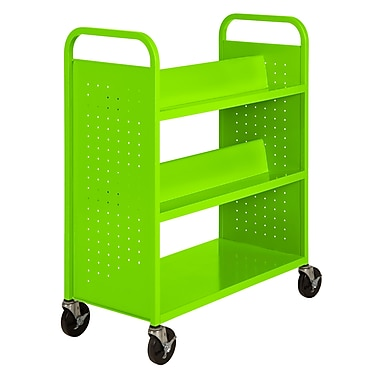 Sandusky® 46in.H x 39in.W x 19in.D Steel Flat Bottom and Sloped Book Truck, 5 Shelf, Electric Green