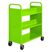"Sandusky® 46""H x 39""W x 19""D Steel Flat Bottom and Sloped Book Truck, 5 Shelf, Electric Green"