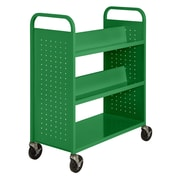 "Sandusky® 46""H x 39""W x 19""D Steel Flat Bottom and Sloped Book Truck, 5 Shelf, Primary Green"