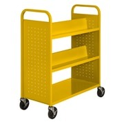 "Sandusky® 46""H x 39""W x 19""D Steel Flat Bottom and Sloped Book Truck, 5 Shelf, Yellow"