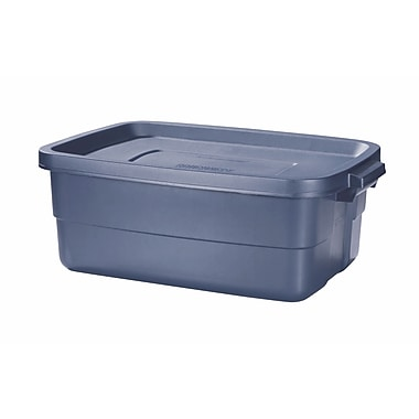Rubbermaid® 10 gal Roughneck Storage Box, Dark Indigo Metallic