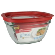 Rubbermaid® 11.5 Cup Glass Easy Find Lid Container, Racer Red