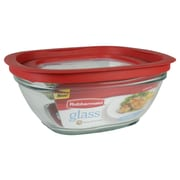 Rubbermaid® 8 Cup Glass Easy Find Lid Container, Racer Red
