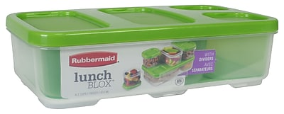 Rubbermaid 4.1 Cup Entree Container with Dividers Guacamole