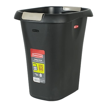 Rubbermaid® 21 qt Open Wastebasket with LinerLock, Black