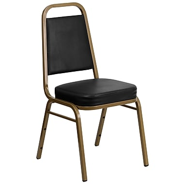 Flash Furniture HERCULES Series Trapezoidal Back Stacking Banquet Chair with Black Vinyl and Gold Frame, 10/Pack