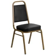 Flash Furniture HERCULES Series Trapezoidal Back Stacking Banquet Chair with Black Vinyl and Gold Frame, 4/Pack