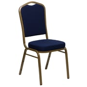 Flash Furniture HERCULES Series Crown Back Stacking Banquet Chair with Navy Blue Patterned Fabric and Gold Frame, 4/Pack