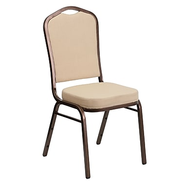 Flash Furniture HERCULES Series Crown Back Banquet Stack Chair with Beige Fabric and 2.5'' Thick Seat, Copper Vein Frame, 4/Pack