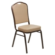 Flash Furniture HERCULES Series Crown Back Banquet Stack Chair with Tan Vinyl and 2.5'' Thick Seat, Copper Vein Frame, 40/Pack