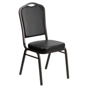 Flash Furniture HERCULES Series Crown Back Banquet Stack Chair with Black Vinyl and 2.5'' Thick Seat, Gold Vein Frame, 40/Pack
