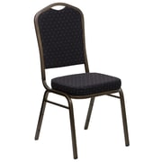 Flash Furniture HERCULES Series Crown Back Stacking Banquet Chair with Black Patterned Fabric and Gold Vein Frame, 4/Pack