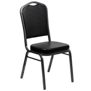 Flash Furniture HERCULES Series Crown Back Banquet Stack Chair with Black Vinyl and 2.5'' Thick Seat, Silver Vein Frame, 10/Pack