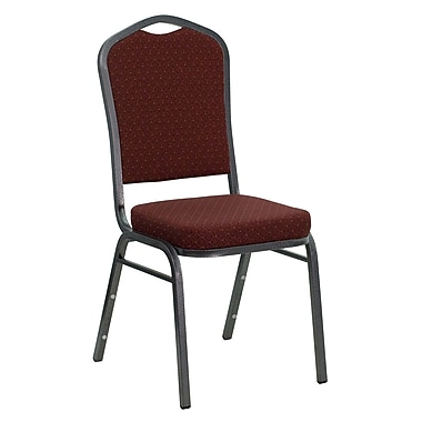 Flash Furniture HERCULES Series Crown Back Stacking Banquet Chair with Burgundy Patterned Fabric and Silver Vein Frame, 10/Pack