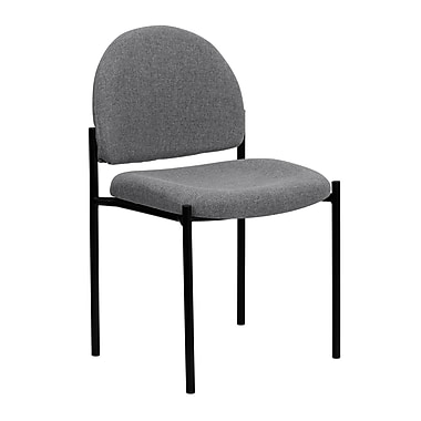 Flash Furniture Fabric Stackable Steel Side Chair, Gray, 30/Pack