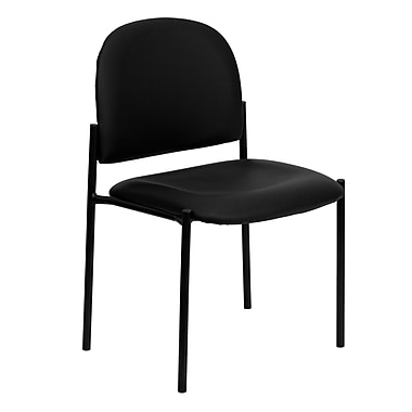Flash Furniture Vinyl Stackable Steel Side Chair, Black, 15/Pack