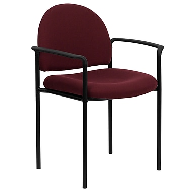 Flash Furniture Fabric Stackable Steel Side Chair with Arms, Burgundy, 30/Pack