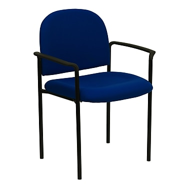 Flash Furniture Fabric Stackable Steel Side Chair with Arms, Navy, 30/Pack