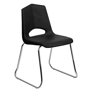 Flash Furniture HERCULES Sled Base Stack Chair W/Chrome Frame, Black