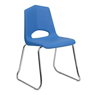 Flash Furniture HERCULES Series 500 lb. Capacity Plastic Sled Base Stack Chair with Chrome Frame, Blue, 24/Pack
