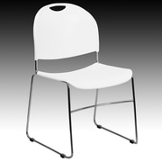 Flash Furniture HERCULES Series 880 lb. Capacity High Density, Ultra Compact Stack Chair with Chrome Frame, White