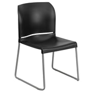 Flash Furniture HERCULES Series 880 lb. Capacity Full Back Contoured Stack Chair with Sled Base, Black, 4/Pack
