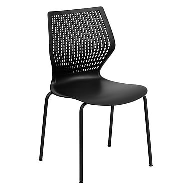 Flash Furniture HERCULES 4/Pack Designer Stack Chairs W/Black Frame