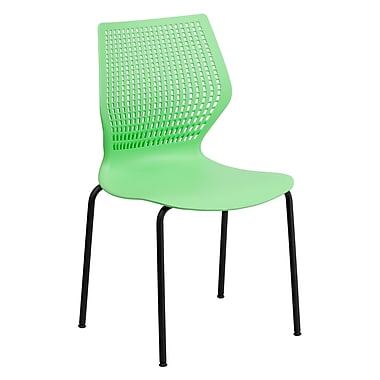 Flash Furniture HERCULES Series 770 lb. Capacity Designer Stack Chair with Black Frame, Green, 20/Pack