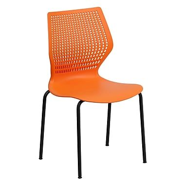 Flash Furniture HERCULES Series 770 lb. Capacity Designer Stack Chair with Black Frame, Orange