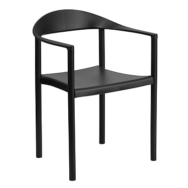 Flash Furniture HERCULES Plastic Cafe Stack Chairs, Black, 4/Pack