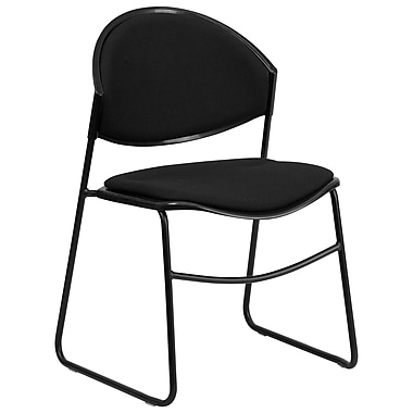 Flash Furniture HERCULES Series 550 lb. Capacity Padded Stack Chair with Black Powder Coated Frame Finish, Black, 4/Pack