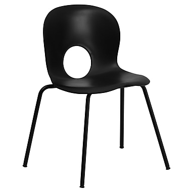 Flash Furniture HERCULES Series 770 lb. Capacity Designer Plastic Stack Chair with Black Powder Coated Frame Finish, Black