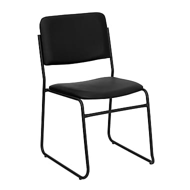 Flash Furniture HERCULES Series 1500 lb. Capacity High Density Vinyl Stacking Chair with Sled Base, Black